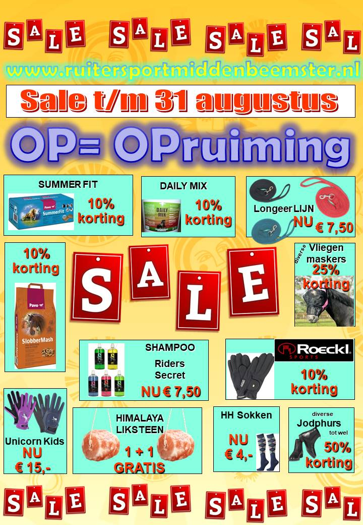 SUPER SUMMER SALE .Ruitersport Middenbeemster 2019.2