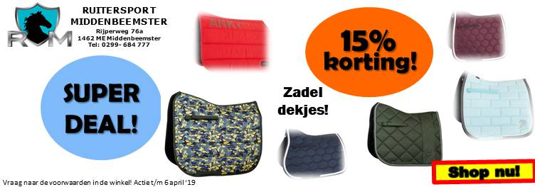 Super Deals Ruitersport Middenbeemster tm 6 april 2019. zadeldekjes
